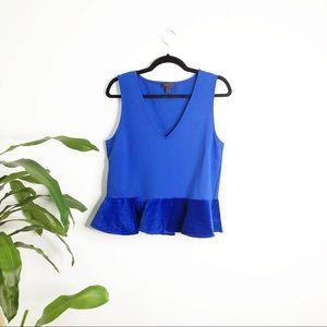 J. Crew┃blue Velvet Peplum Top blouse